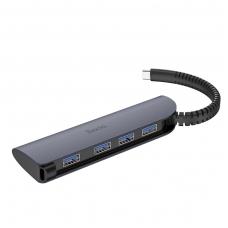 """Adapteris HB12 iš """"Type-C"""" į 4X USB pilkas"""