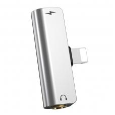 """Audio adapteris iš Apple """"Lightning"""" į """"Lightning"""" + 3,5mm HOCO LS25 juodas"""
