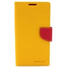 """Samsung G925 S6 Edge dėklas Mercury Goospery """"Fancy Diary"""" geltonas/koralo spalvos"""
