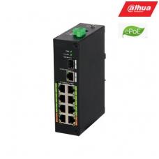 ePoE šakotuvas 100Mbps 8portu+1G uplink + 1SFP, ePoE iki 800m, Hi-PoE