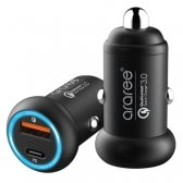 Įkroviklis automobilinis Araree Turbo su USB jungtimi Quick Charge 3.0 + Type-C PD juodas