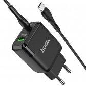Įkroviklis buitinis Hoco N5 USB Quick Charge 3.0 + PD 20W (3.1A) + Type-C-Type-C juodas
