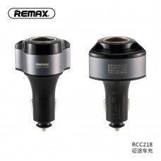 Įkroviklis automobilinis + adapteris Remax RCC-218 su 2xUSB jungtimis (4.8A) juodas