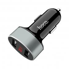 Įkroviklis automobilinis HOCO Z26 su 2 USB jungtimis 1.1A su led ekranu juodas