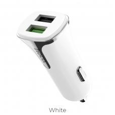 Įkroviklis automobilinis HOCO Z31 Quick Charge 3.0 su 2 USB jungtimis baltas