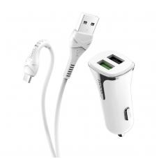 Įkroviklis automobilinis HOCO Z31 Quick Charge 3.0 su 2 USB jungtimis + microUSB baltas