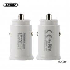 Įkroviklis automobilinis Remax RCC-219 su 2xUSB jungtimis (2.4A) baltas