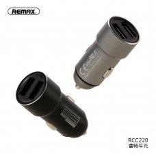 Įkroviklis automobilinis Remax RCC-220 su 2xUSB jungtimis (2.4A) sidabrinis