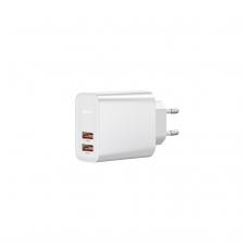 """Įkroviklis buitinis """"Baseus"""" PPS QC3.0 su dviem USB jungtimis 30W baltas"""