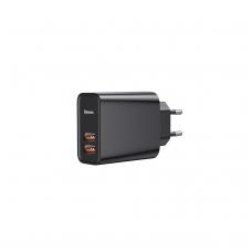 """Įkroviklis buitinis """"Baseus"""" PPS QC3.0 su dviem USB jungtimis 30W juodas"""