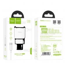"""Įkroviklis buitinis HOCO C59A su """"Type-C"""" (2.4A) + 2 USB jungtis baltas"""