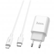 "Įkroviklis buitinis HOCO C71A PD Quick Charge + Type-C-""Lightning"" baltas"
