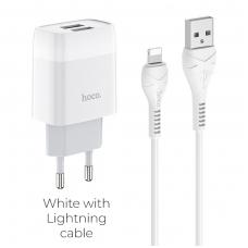 """Įkroviklis buitinis HOCO C73A su 2 USB jungtis + """"Lightning"""" baltas"""