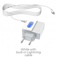 """Įkroviklis buitinis HOCO C75 su 2 USB jungtis + """"Lightning"""" baltas"""