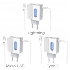 """Įkroviklis buitinis HOCO C75 su 2 USB jungtis + """"microUSB"""" baltas"""