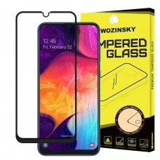 Samsung A202 A20e LCD juodas apsauginis stikliukas Wozinsky 5D pritaikytas dėklui