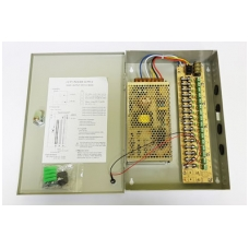 Maitinimo šaltinis metaliniame korpuse 100W, 12V, 12A, 16 išėjimų, skirtas vaizdo stebėjimo sistem