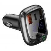 Transmiteris Baseus T-Typed S-13 Bluetooth MP3 grotuvas/FM bangų moduliatorius (laisvų rankų įranga,microSD,LCD,2xUSB Quick Charge įkroviklis) juodas CCTM-B01