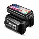 """Universalus telefono laikiklis WILDMAN E6S 1,2L 4""""- 7"""" dviračiui su jutikliniu ekranu ir užtrauktuku juodas"""