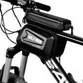 """Universalus telefono laikiklis WILDMAN E6S 1L 4""""- 7"""" dviračiui su jutikliniu ekranu ir užtrauktuku juodas"""