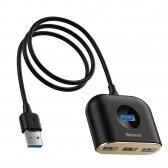 USB įkrovimo adapteris Baseus Square round 4 in 1 (USB3.0 TO USB3.0*1+USB2.0*3) 1m juodas CAHUB-AY01