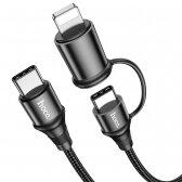 USB kabelis Hoco X50 2-in-1 Exquisito Type-C į Type-C/Lightning 1.0m juodas