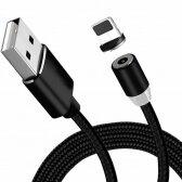 USB kabelis Magnetic microUSB magnetinis 1.0m juodas