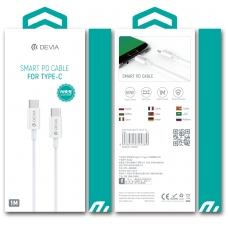 "USB kabelis Devia Smart PD iš ""Type-C"" į ""Type-C"" baltas"