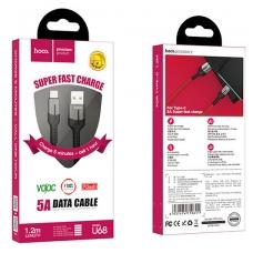 USB kabelis HOCO U68 Type-C 5A 1.2m juodas